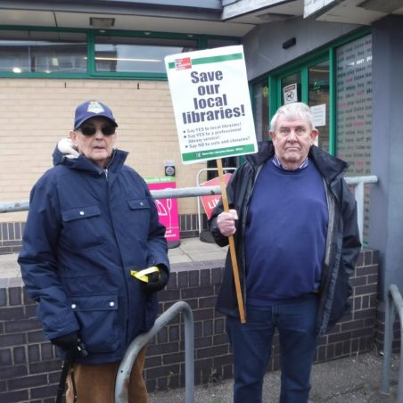 Two older supporters outside Benfleet Library | Phil Coley
