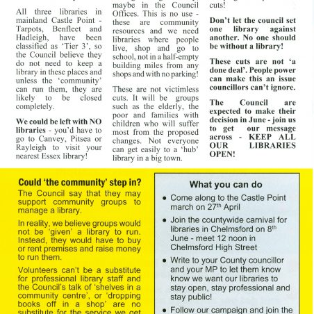 Flyer (back) for Community March for Castle Point Libraries between Tarpots Library and Benfleet Library on Saturday 27th April. This was distributed throughout Castle Point.