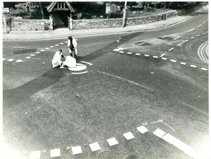 St Mary's Church Mini-roundabout being painted | CPDC