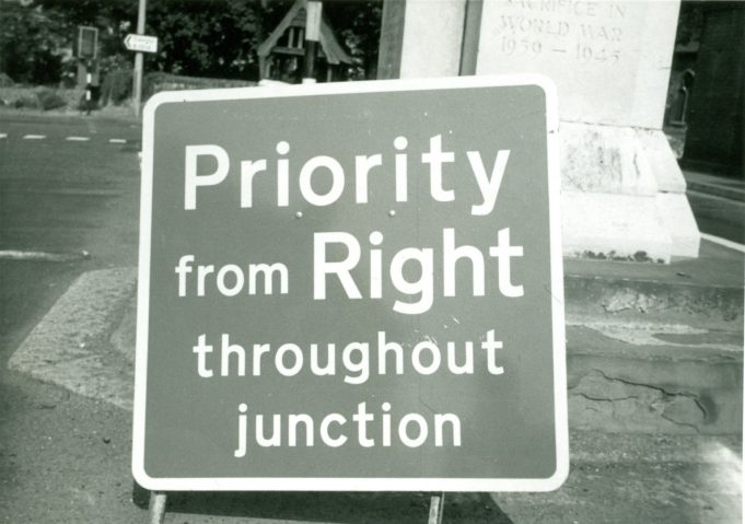 Board telling motorists what they had to do. 11th June 1970 | CPDC