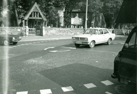 World's first Mini-roundabout being used.