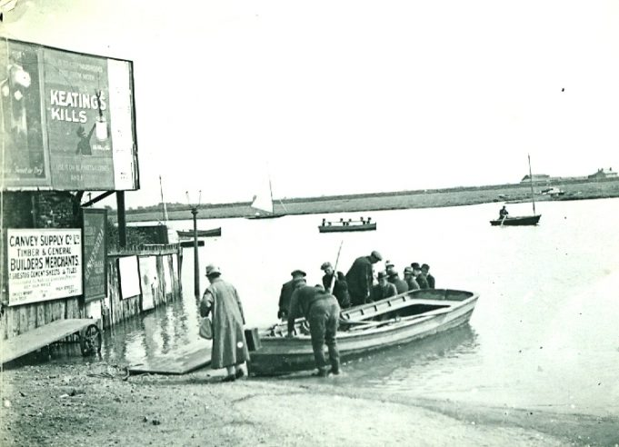 Advert for Canvey Supply Co. Ltd. next to the Benfleet - Canvey ferry   Jackie Barnes Collection