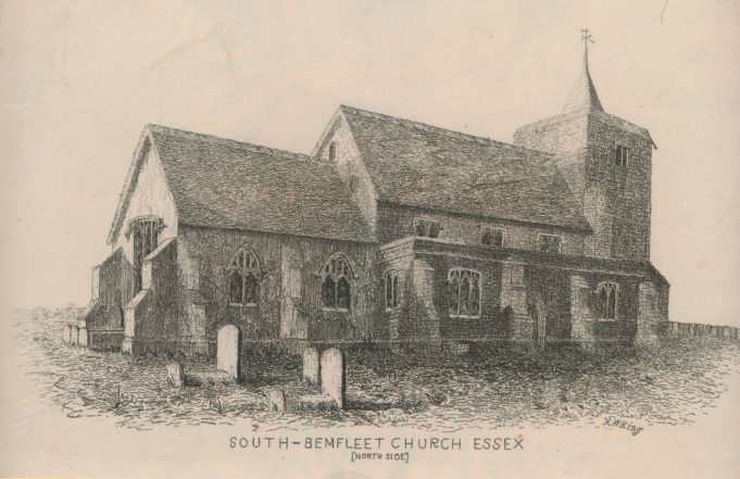 St Marys Church in 1848 showing the wind vane. At this time it had compass direction as well.