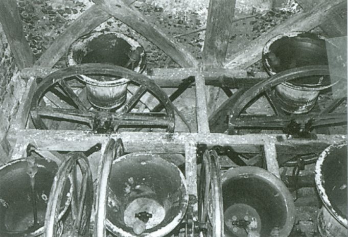 The six bells of St. Mary's, here in the up position, ready to be rung   From 'South Benfleet A History' by Robert Hallman