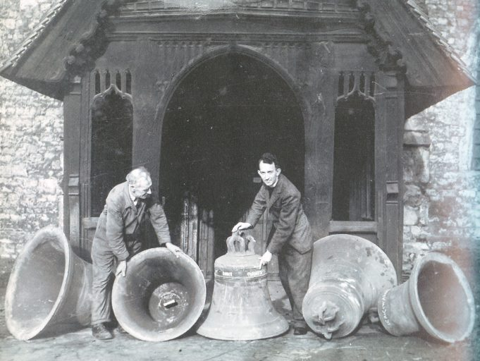The Rev. Leighton Houghton with the bells about to be re-hung, in 1949 | From 'Bygone Benfleet' by Norman Chisman