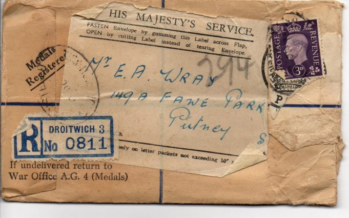 The envelope in which some his medals were sent.