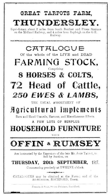 Auction Notice 20th September 1917