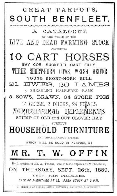 Auction Notice 26th September 1889