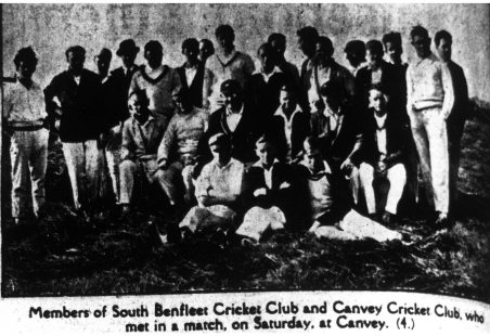 Canvey Island vs South Benfleet cricket match on the 2nd June 1928