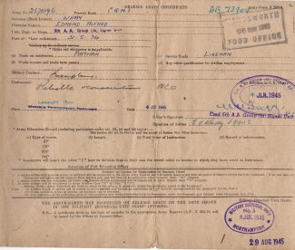 A.E. Wray WW2 discharge certificate | Janet Walden