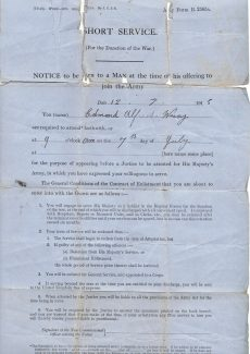 A.E. Wray WW1 Joining up documents front | Janet Walden