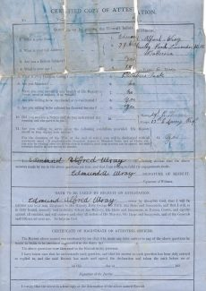 A.E. Wray WW1 Joining up documents back | Janet Walden