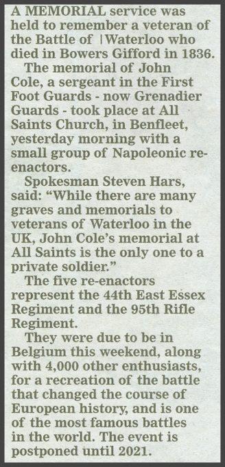 Echo newspaper text regarding John Cole | Echo Newspaper June 19th 2020