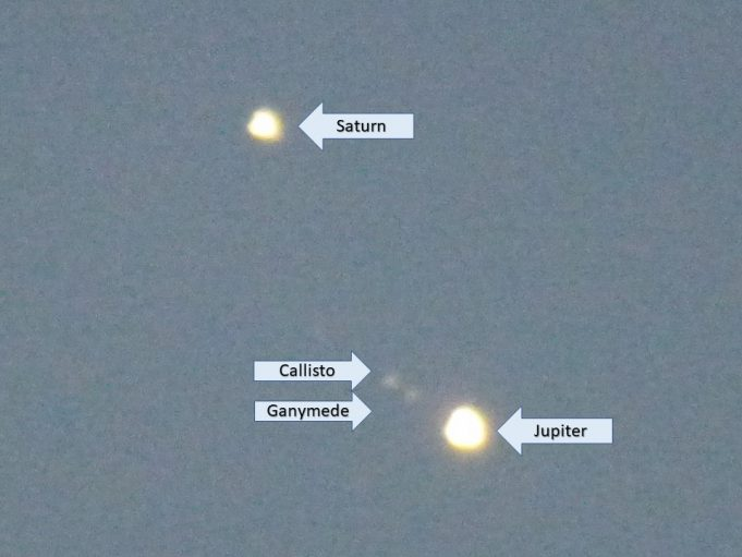 Jupiter and Saturn 19th December 2020 showing names | Phil Coley