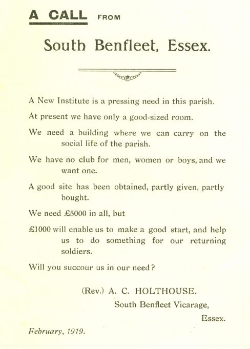 'A Call from the Rector' for funds to build what ultimately became the Church Hall in School Lane | Betty Matson's Papers