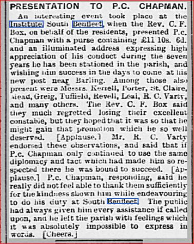 Presentation to P.C. Chapman, Chelmsford Chronicle 7th Aug 1903 | Chelmsford Chronicle Newspaper Archives