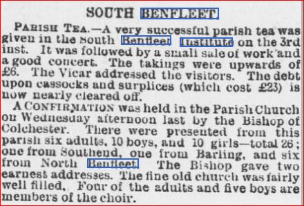 Parish Tea and Sale of Works 12th Feb 1897 | Essex Chronicle Newspaper Archives