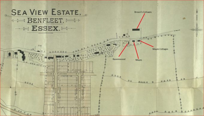Sea View Estate Plan showing location of Mayes Cottages | Essex Record Office