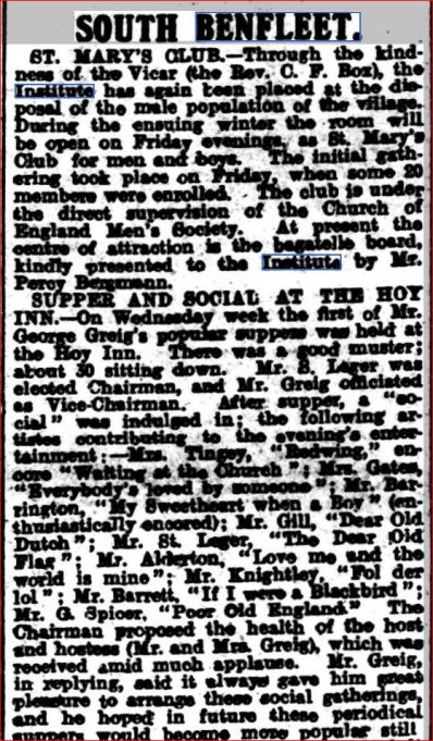 Supper and Social | Southend Standard Newspaper Archives