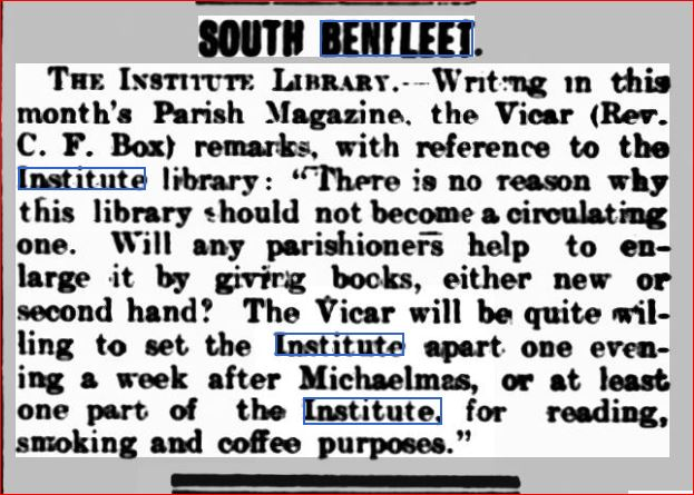 Institute Library 24th Sept 1903 | Southend Standard Newspaper Archives