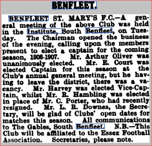 St. Mary's Football Club August 1906 | Southend Standard Newspaper Archives
