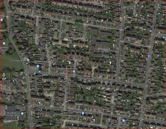 The area around Arundel Road in 2021. | Google Maps