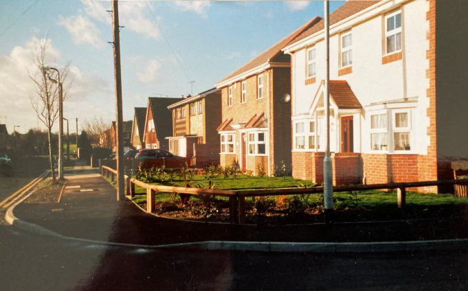 Two detached houses built on the site of the bungalow. The pair of semis were just visible in the earlier picture of the bungalow. This photo was taken in 1999. | Pat White