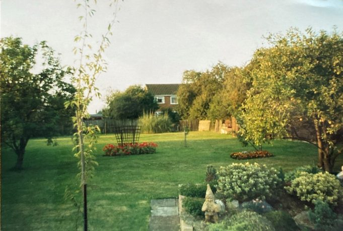 The back garden with new properties appearing in Eversley Road at the bottom of the garden. The garden was quite sizeable at 60 ft wide by 240 ft deep. | Pat White