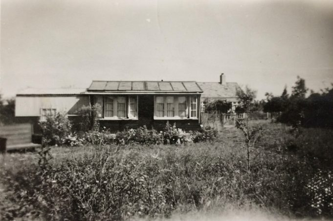 My grandparents' bungalow, opposite my parents' (just seen behind). This land is now Orchard Road (off Arundel Road). The bungalow was called