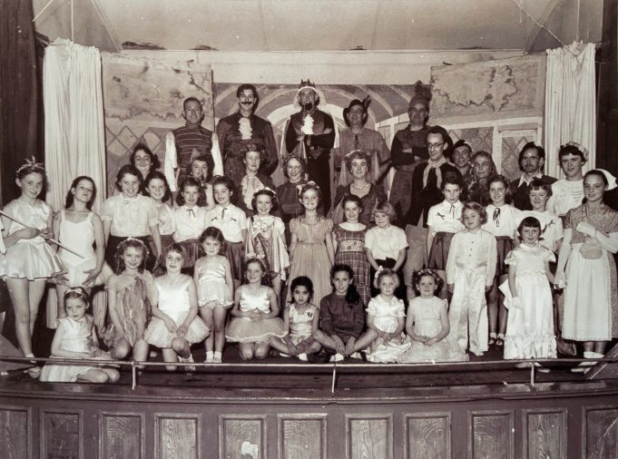The cast of a show at The Tarpots Hall. There are several people I recognise. I believe Mr Best was one of the organisers, I think he is the tall one with glasses on the right hand side, his two daughters are also there. | Pat White