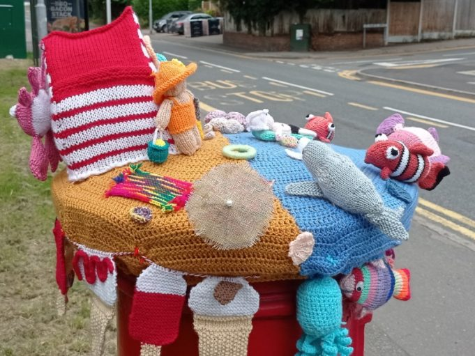 Seaside hat for post box showing sea and beach edge | Phil Coley