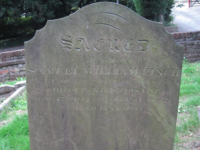 The Headstone for Samuel William Finch - in St Mary's churchyard   Lynda Manning